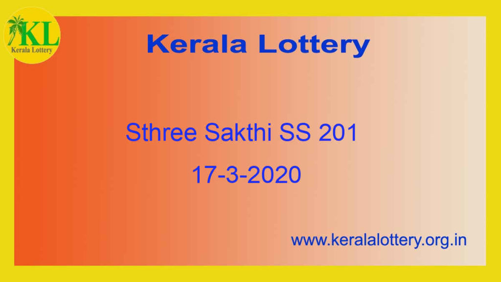 Sthree Sakthi Lottery SS 201 Result 17.3.2020