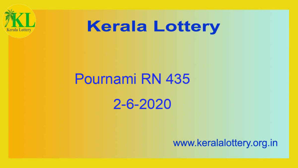 2.6.2020 Pournami Lottery RN 435  Result (3 PM)