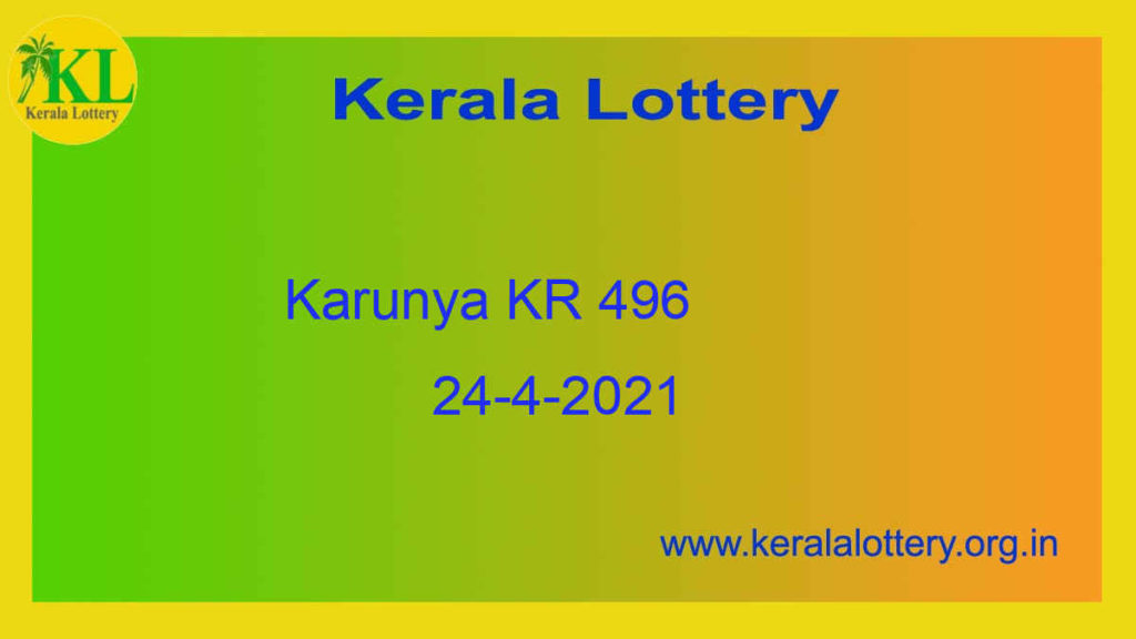 24.4.2021 Karunya Lottery KR 496 Result Live @ 3PM